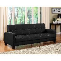 Wood and Faux Leather Futon Couch / Sofa Sleeper $