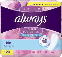 120-Count Always Thin Daily Liners $4.25 + Free Sh