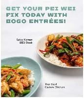 Pei Wei BOGO Entree Today only from 11AM to 4PM $8